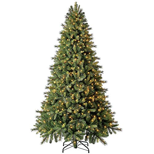 Evergreen Classics TG76P5509L00 Pre-Lit Norway Spruce Quick Set Artificial Christmas Tree, Warm White LED Lights, 7.5 ft