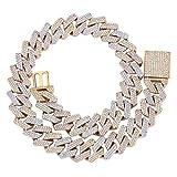 Topgrillz - Gargantilla de cadena de eslabones cubanos de 20 mm, 6 veces chapado en oro de 14 quilates con cierre de caja, estilo hip hop