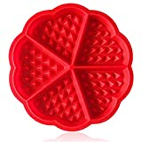 Molde Gofres Silicona, Moldes Waffle, Galletas para Tarta Muffin Cocina Herramientas, Rojo