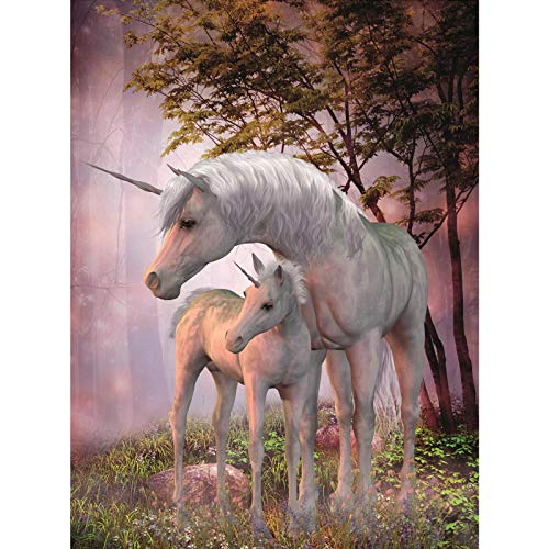 1000Piece Jigsaw Puzzle Aluminium Effect Puzzle  Ideal for Kids to Adult Toy Game Gift White Unicorn