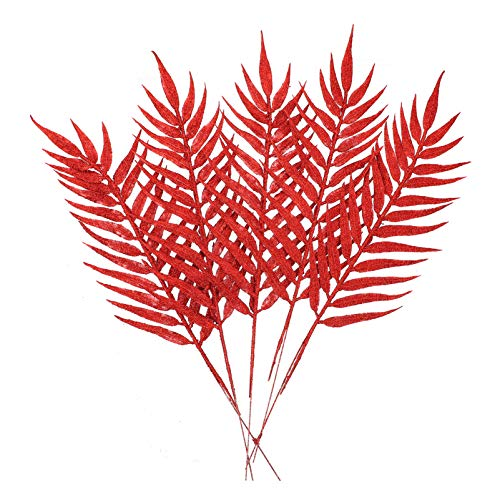 STOBOK Artificial Christmas Picks Glitter Leaves Stems Red 40 cm Vases Decorative Branches Flower Bouquet Wreath DIY Artificial Plant Branches Pack of 5 Christmas Wedding Garden Party Decoration