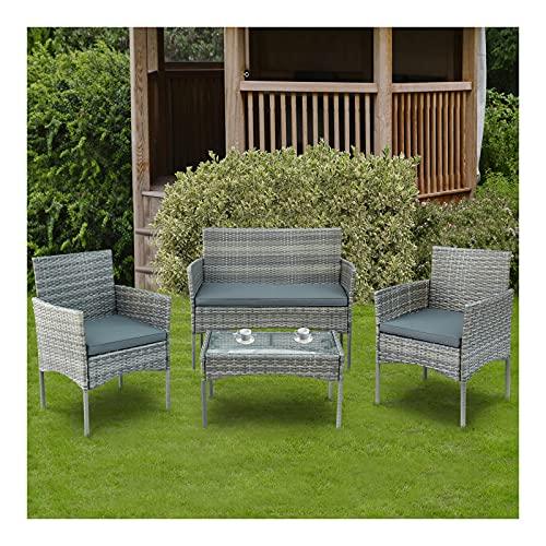 Loungegrupp ?för trädgården, sittgrupp för 4 personer balkongmöbel set,utomhus konstrotting soffa, trädgårdsmöbler set, soffa & bord, sittdynor ?för trädgård balkong och terrass