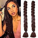 Mychanson 100% Kanekalon Synthetic High Temperature Braiding Hair 41inch 2Pcs/lot Long Crochet Jumbo Braids Hair Extensions(Naural Black)