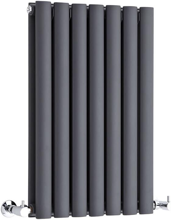 Termosifone d`arredo orizzontale con finitura in antracite  635 x 413mm - 652w - riscaldamento ad acqua calda RE635415HAD