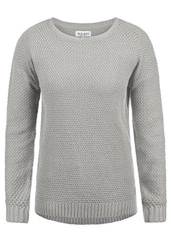 DESIRES Imke Damen Strickpullover Feinstrick mit Rundhals-Ausschnitt aus hochwertiger Baumwollmischung, Größe:S, Farbe:Mid Grey (2842)