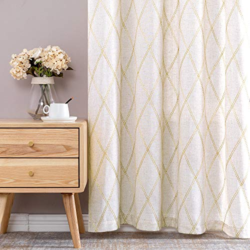 """jinchan Linen Textured Curtains for Living Room Long Embroidered Design Window Curtains Privacy Flax Linen Look Window Treatment Set for Bedroom Grommet Top 2 Panels 63"""" Gold"""