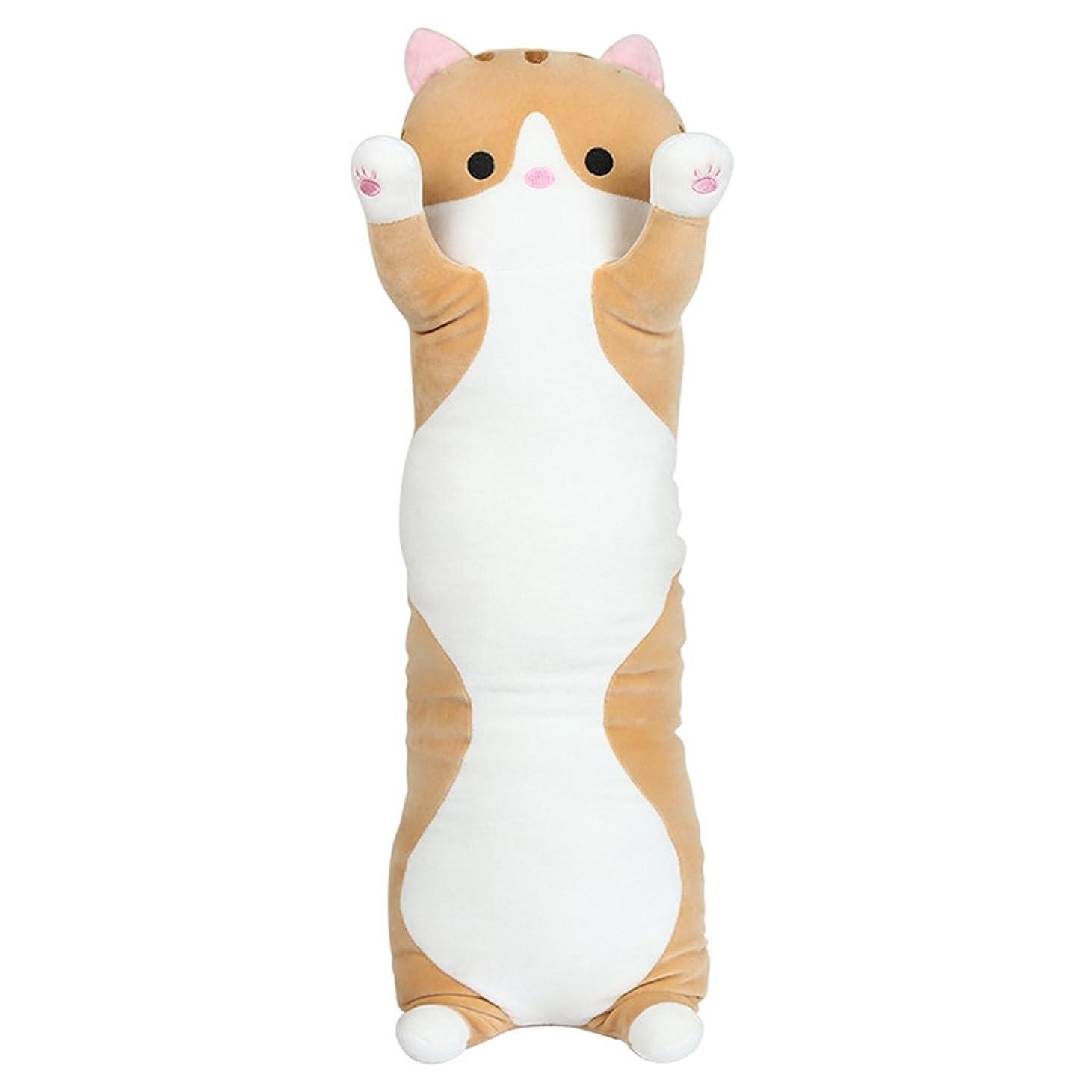 ウェブ抑制する粉砕する[XINXIKEJI]ぬいぐるみ 猫 可愛い 抱き枕 プレゼント 特大 動物 大きい 猫ぬいぐるみ おもちゃ 豚 猫縫い包み お祝い ふわふわ 子供 お誕生日 お人形 女の子 女性 赤ちゃん 贈り物 彼女 萌え イエロー 110CM