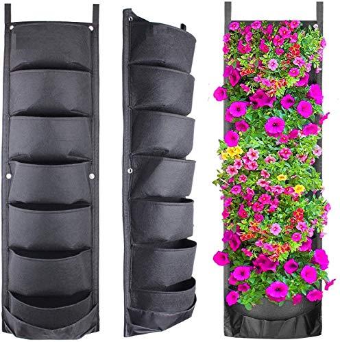 Nuevo grande Bolsa de Cultivo Vertical,2 unidades de 7 bolsillos para colgar en la pared,Bolsas colgantes para macetas, Multifunción bolsas de cultivo para interiores y exteriores organizador de pared