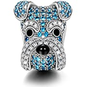 NINAQUEEN Charms Puppy Charms for Animals Lover-Schnauzer Knight- 925 Sterling Silver Animal Bead Charms - Happy Family Series