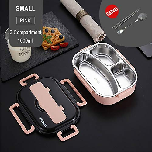 Portable 304 RVS Lunch Box 2020 New Hot Japanse stijl compartiment Bento Box Kitchen Lekvrij Voedsel Container (Color : Pink 3 Suit)