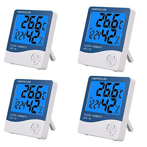 eSynic 4 STÜCKE Digitale Hygrometer Thermometer Große LCD Luftfeuchtigkeit und Temperatur und Meter mit Hintergrundbeleuchtung Wecker Innenthermometer Thermometer Monitor für Home Office