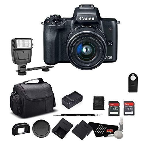 Canon EOS M50 Mirrorless Digital Camera with 15-45mm Lens and 4K Video 2680C011 Bundle w/Memory Cards, Digital Slave Flash, Spare Battery + More - International Model