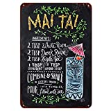 Mai Tai Tiki Bar Poster Open Summer Beer Retro Metall