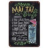 Mai Tai Tiki Bar Poster Open Summer Beer Retro Metall