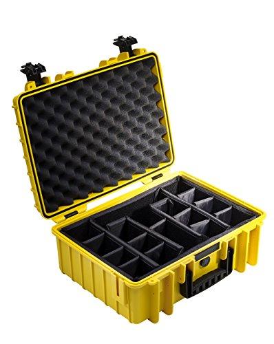 B&W Outdoor Case Hartschalenkoffer Typ 5000 mit Facheinteilung, anpassbar (Hardcase Koffer IP67, wasserdicht, Innenmaß 43x30x17cm, Gelb)