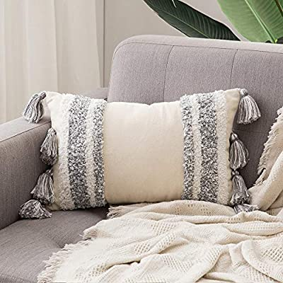 MIULEE Decorative Throw Pillow Cover Tribal Boho Woven Tufted Pillowcase with Tassels Super Soft Pillow Sham Cushion Case for Sofa Couch Bedroom Car Living Room