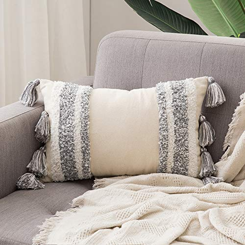 MIULEE Decorative Throw Pillow Cover Tribal Boho Woven Tufted Pillowcase with Tassels Super Soft Pillow Sham Pillowcase Cushion Case for Sofa Couch Bedroom Car Living Room 12X20 Inch Grey
