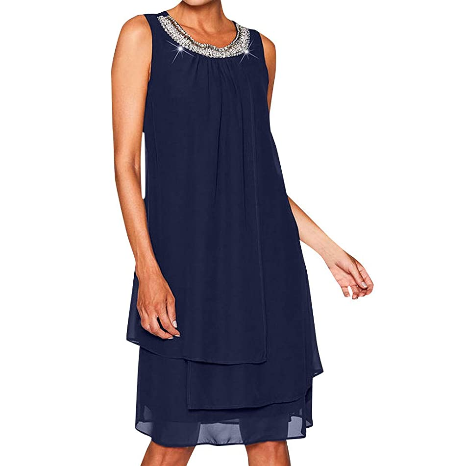 ??EDC Women's Solid Chiffon Sequin Dresses Plus Size O-Neck Sleeveless Camisole Vest Casual Swing Party Pleated Dress