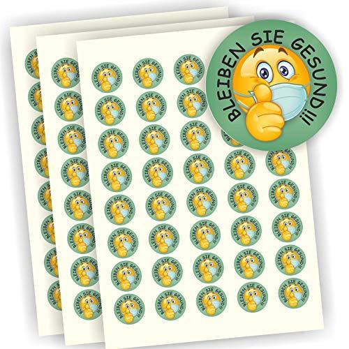 Play-Too 120 Aufkleber Etiketten Bleiben Sie gesund Smiley Daumen hoch 30mm