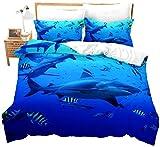 Tbrand Juego de cama de tiburón azul con funda de edredón para peces de la vida marina, funda de edredón cómoda colcha, juego de cama decorativo 2 piezas con 1 funda de almohada (individual)