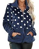 Style Dome Fuzzy - Sudadera con capucha de forro polar para mujer, con capucha de felpa, para invierno, cálida y suave, cremallera 1/4, sudadera de manga larga 2 azul XL
