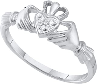 10kt White Gold Womens Round Diamond Claddagh Heart Ring .01 Cttw (I2-I3 clarity; J-K color)