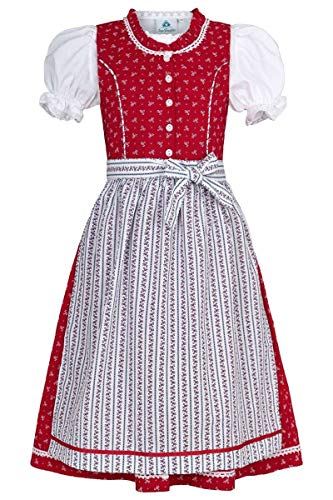 Isar-Trachten Mädchen Kinderdirndl rot mit Bluse, ROT, 134