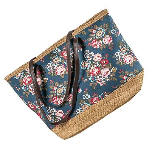 LaFiore24 Shopper Einkaufstasche Strandtasche mit Blumen Damen Badetasche Schultertasche Reißverschluss blau