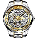 OUPINKE Mens Automatic Watch Skeleton Watches for Men Tungsten Steel Waterproof Mechanical Wrist Watches Gifts for Men Swiss Brand (Two Tone - Gold Dial-)