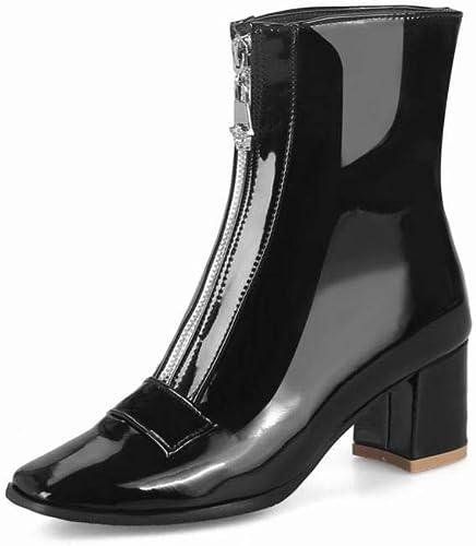 ZHRUI Calzado de damen - Stiefel de tacón Alto británicas Stiefel de Cremallera Gruesas con Stiefel cálidas 34-44 (Farbe   schwarz, tamaño   39)