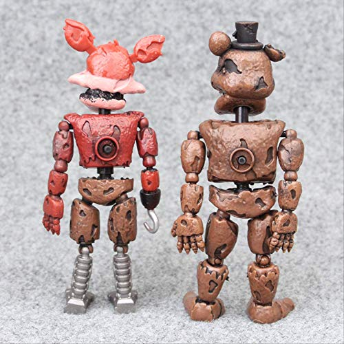 2 Stück Five Nights at Freddy's Actionfiguren Spielzeug, FNAF Foxy Bonnie Freddy Fazbear Schwester Ort Modell Led Puppen