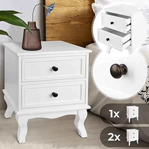 MIADOMODO Nachttisch mit Zwei Schubladen - 49x34,5x30cm, 1er oder 2er, aus robuster MDF-Platte und Holz, Weiß - Nachtschrank, Nachtkommode, Nachtkonsole, Kommode, Ablagetisch für Schlafzimmer (1er)