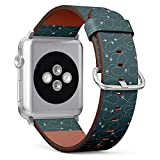 Compatible with Small Apple Watch 38mm & 40mm (All Series) Leather Watch Wrist Band Strap Bracelet with Stainless Steel Clasp and Adapters (Travel Around World Airplane Routes)