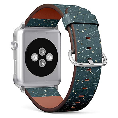 Compatible with Apple Watch 38mm & 40mm (Series 5, 4, 3, 2, 1) Leather Watch Wrist Band Strap Bracelet with Stainless Steel Clasp and Adapters (Travel Around World Airplane Routes)