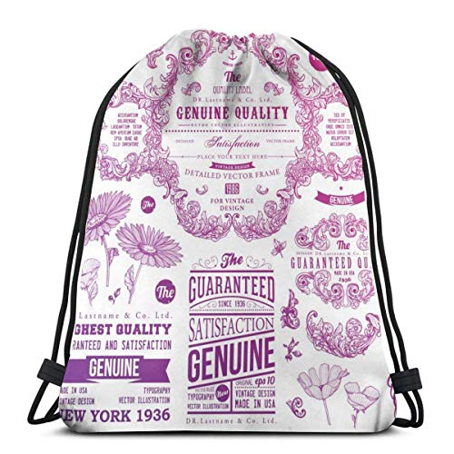 Ornaments And Frames Retro Style Badges And Logotypes Drawstring Bulk Bags Backpack Bag Sport Gym Sackpack For Men And Women