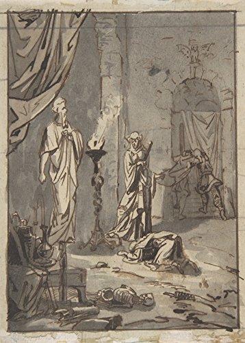 vollkornschnitte/dämonologie, Hexerei, Occult & Magick Die Hexe von Endor von Ary Scheffer, Niederlande C1800's 250g/m², A3, glänzend, vervielfältigtes Poster