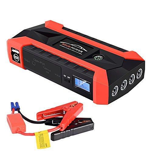 Portable 200A démarreur de voiture 20000mAh (jusqu'à 6.0L essence ou 3.0L diesel) chargeur de batterie automatique avec 4 ports USB, chargeur de voiture et adaptateur secteur