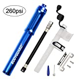 Bodyguard Mini Bike Pump - Reliable Hand Air Pump, Presta and Schrader Valve Compatible with Road, Mountain and BMX Bicycle Tires, High Pressure 260 Psi, 7.3 inches (Blue)