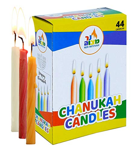 Ner Mitzvah Colorful Chanukah Candles - Standard Size Fits Most Menorahs - Premium Quality Wax - Assorted Colors - 44 Count for All 8 Nights of Hanukkah