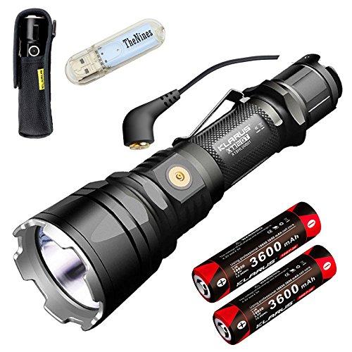 Preisvergleich Produktbild Klarus XT12GT Tactical Taschenlampe CREE LED XHP35 HI D4 1600 Lumen Taschenlampe Magnetic Charging Verlängert Reichweite 603 Meters mit 2* 3600 mAh Akku und BanTac USB Lampe