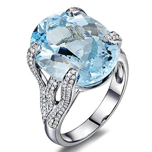 Bellissimo Naturale Mare blu Acquamarina Pietra preziosa Diamante 585/1000 (14 carats) 14K Oro bianco Eternità Promettere Nozze Fidanzamento anello