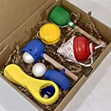 Juguetes de madera: 5 juguetes tradicionales de madera, pintados con pinturas adecuados para los niños. Fabricación artesana, hecho a mano, handmade.