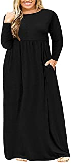 Womens L-4XL Long Sleeve Casual Plus Size Maxi Dresses with Pockets
