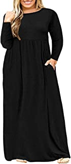 Womens L-6XL Long Sleeve Casual Plus Size Maxi Dresses...