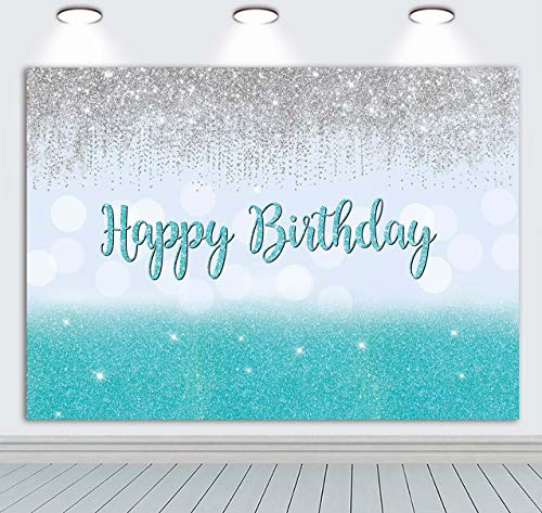 BINQOO Silver Blue Bokeh Glitter Backdrop 7x5ft for Sweet 16 Girls Happy 16th Birthday Party Decorations Banner Vinyl Photography Photo Booths Studio Props Supplies Photo Background