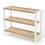 Edaygo Schuhregal Schuhschrank mit Sitzfläche Sitzbank, Schuhablage 3 Ebenen 55 x 70 x 25 cm, Bambus