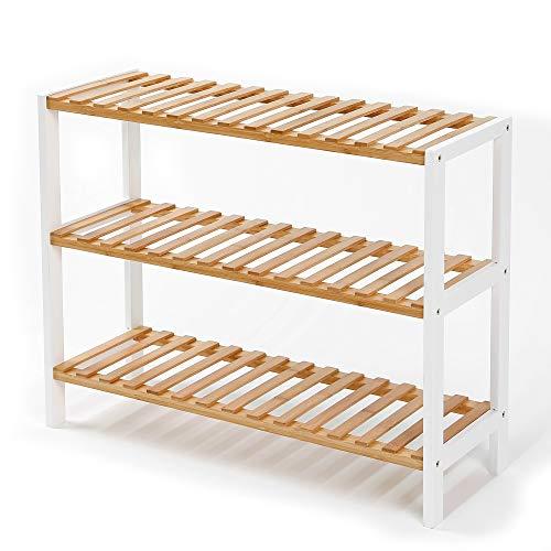 Edaygo Schuhregal Schuhschrank mit Sitzfläche Sitzbank, Schuhablage 3 Ebenen für 12 Paar Schuhe, 55 x 70 x 25 cm (H x B x T) Bambus und Holz, Weiß