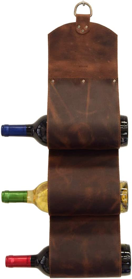 Hide Max 52% OFF Drink Leather 3-Bottle Wine Wall ! Super beauty product restock quality top! Mounted Rack S Modern