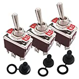 Taiss / 3 Pcs Univeral Heavy Duty 20A 125V ON/ON 6 Terminals 2 Position DPDT Rocker Toggle Switch + Waterproof Boot Cap Cover ( 2 Years Warranty) ten-1321