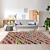 Tapis Kilim 160x230 cm Rectangulaire Rainbow Jute ET Fil Recycle Multicolore Salon Tissé à la Main Jute